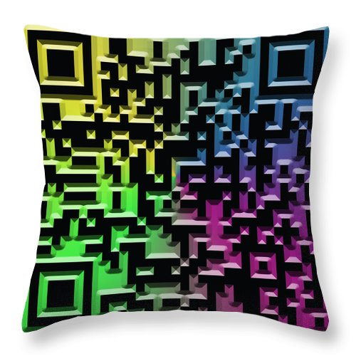 Abstract Throw Pillow featuring the digital art Qr Art by Ricky Barnard
