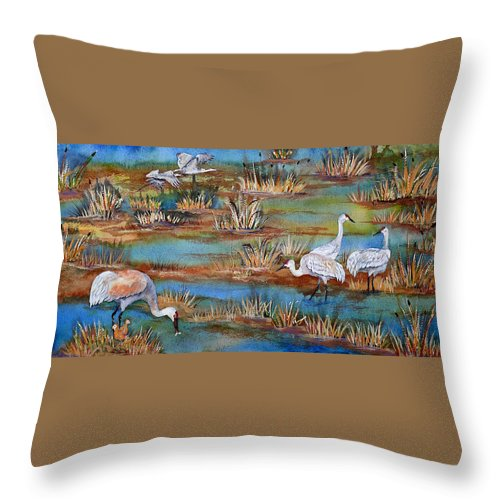 Sandhill Crane Throw Pillow featuring the painting Quality Time At The Marsh by Dee Carpenter