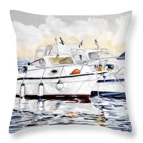 Sea Scape Throw Pillow featuring the painting Quattro Parabordi by Giovanni Marco Sassu