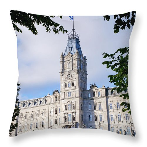 Canada Throw Pillow featuring the photograph Quebec Parliament Buildings Quebec by David Chapman
