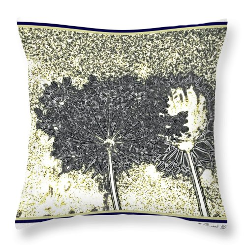 Blue Color Photographs Throw Pillow featuring the photograph Queen Ann Lace Illustrated by Danielle Parent