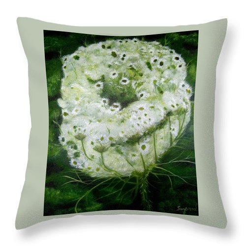 Floral Nature Queen Ann Lace Green White Botanical Flowers Summer Wildflowers Throw Pillow featuring the painting Queen Ann's Lace by Suzanne Godau