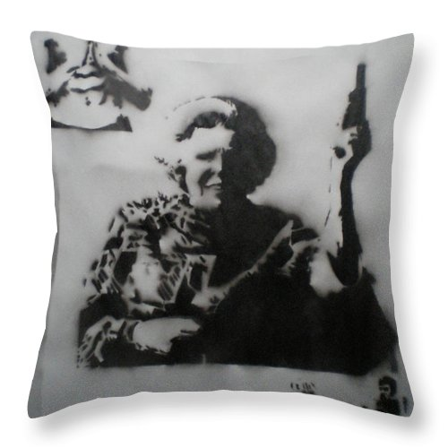 Famous People Throw Pillow featuring the painting queen Beatrix and Bruce Lee by Barry Boom