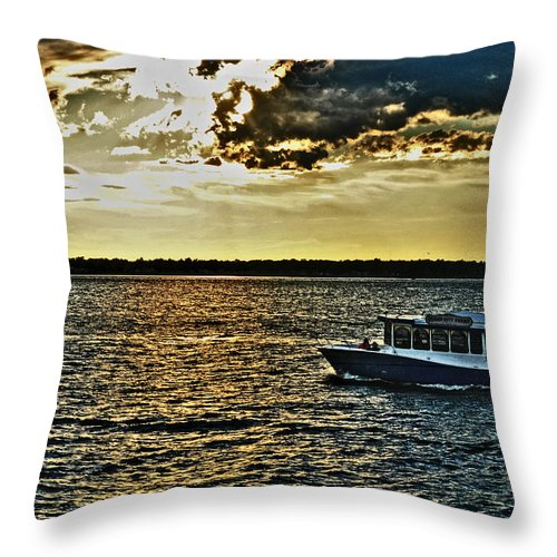 Throw Pillow featuring the photograph Queen City Ferry by Michael Frank Jr