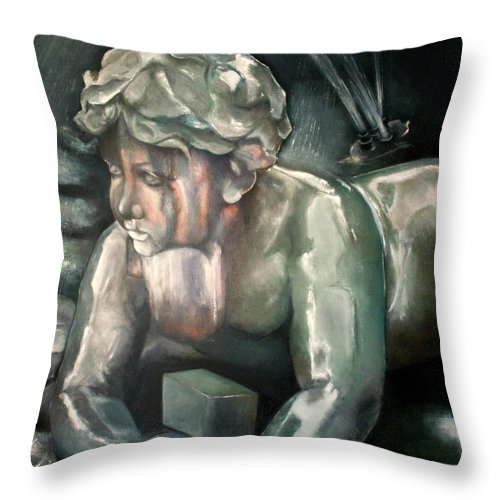 Figure Throw Pillow featuring the painting Querubin cantero by Tomas Castano