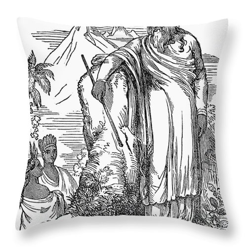 19th Century Throw Pillow featuring the photograph Quetzalcoatl by Granger
