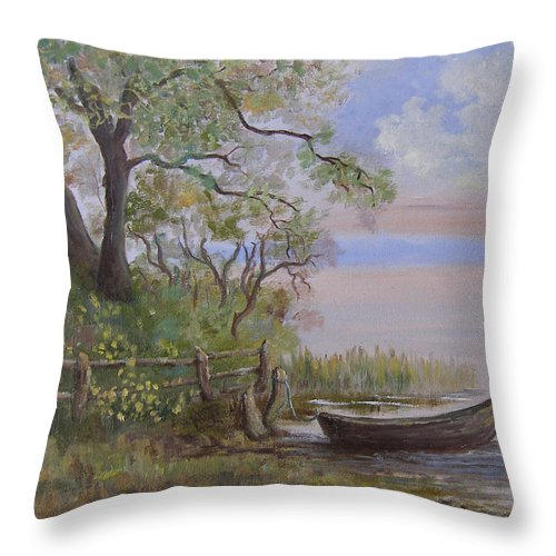 Landscape Throw Pillow featuring the painting Quiet Lake by Mark Perry