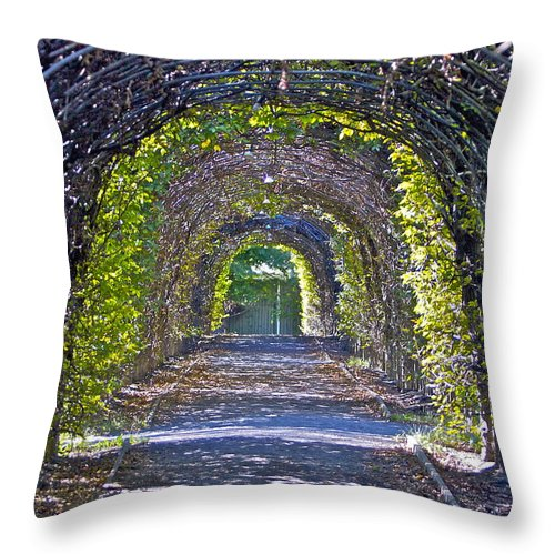 Covered Walkway Green Throw Pillow featuring the photograph Quiet Place by Alice Gipson