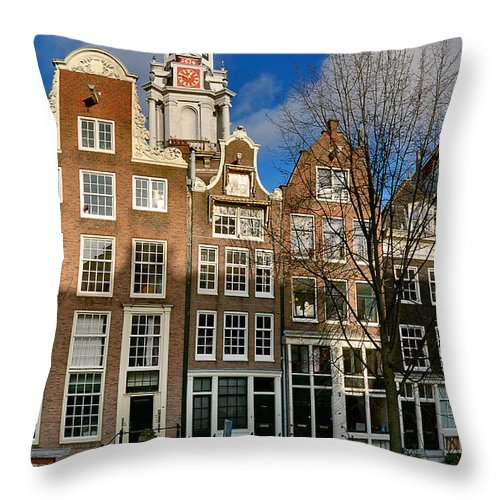 Holland Amsterdam Throw Pillow featuring the photograph Raamgracht 19. Amsterdam by Juan Carlos Ferro Duque