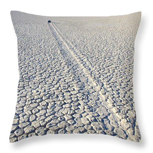 Racetrack Throw Pillow featuring the photograph Racetrack Death Valley Trail Of Mystery by Bob Christopher