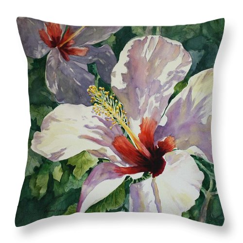 White Hibiscus Throw Pillow featuring the painting Radiant Light - Hibiscus by Roxanne Tobaison