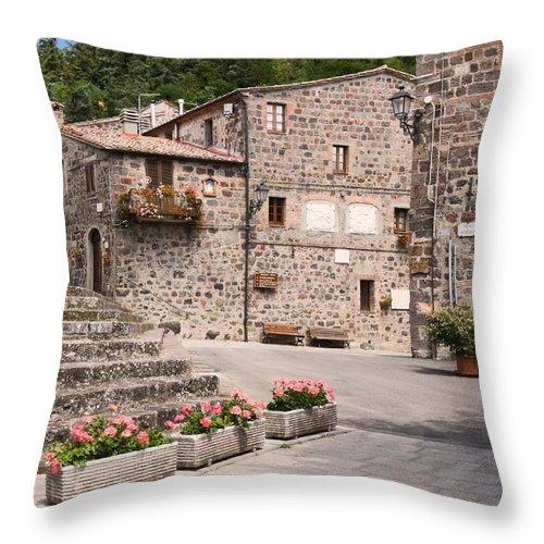 Street Scene Throw Pillow featuring the photograph Radicofani Italy Street Scene by Sally Weigand