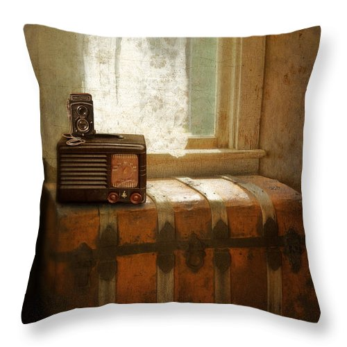 Home Throw Pillow featuring the photograph Radio And Camera On Old Trunk by Jill Battaglia