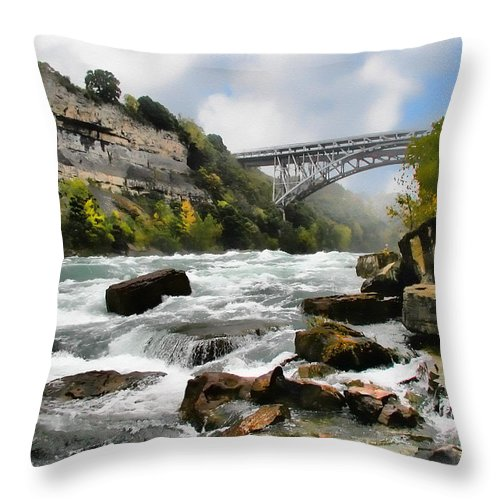 Water Throw Pillow featuring the digital art Raging Niagara     by Tom Schmidt