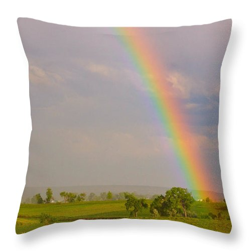 Rainbow; Rainbows; 'coloardo Rainbows'; 'colorado Nature'; 'red Barn Stock Images'; Awesome; 'boulder County'; Colorado; 'colorado Landscapes; Country'; Green; 'james Bo Insogna'; Landscape; Nature; 'rainbow Stock Images'; Rainbows; Red; 'red Barns'; Rural; Stock Throw Pillow featuring the photograph Rainbow And Red Barn by James BO Insogna