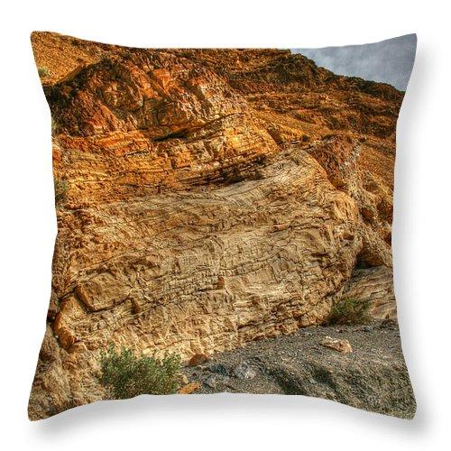 Rainbow Canyon 2 Death Valley Throw Pillow featuring the photograph Rainbow Canyon 2 Death Valley by Chris Brannen