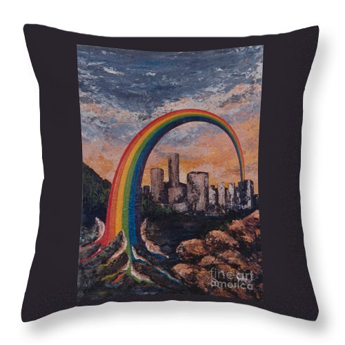 Rainbow Throw Pillow featuring the painting Rainbow by Eva-Maria Di Bella