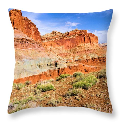 Capitol Reef National Park Throw Pillow featuring the photograph Rainbow Castle by Adam Jewell