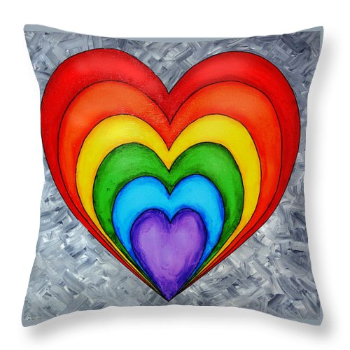 Rainbow Heart On Grey Throw Pillow For Sale By Tim Shanley