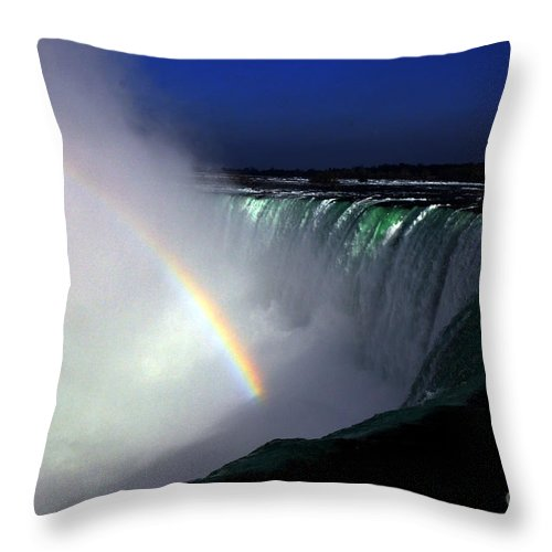 Niagara Falls Throw Pillow featuring the photograph Rainbow by Pravine Chester
