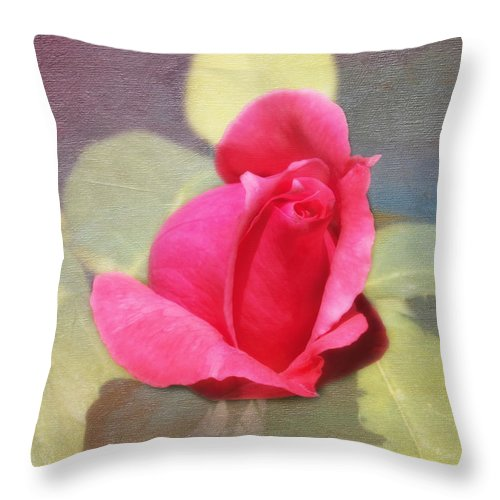 Florals Throw Pillow featuring the photograph Rainbow Rose by Linda Dunn