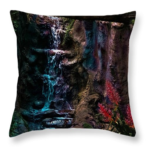 Waterfall Throw Pillow featuring the photograph Rainforest Eden by DigiArt Diaries by Vicky B Fuller