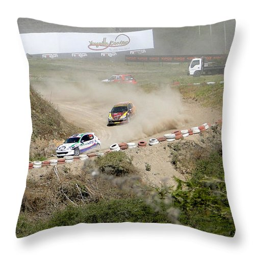Al Bourassa Throw Pillow featuring the photograph Rally Racing Excitement by Al Bourassa