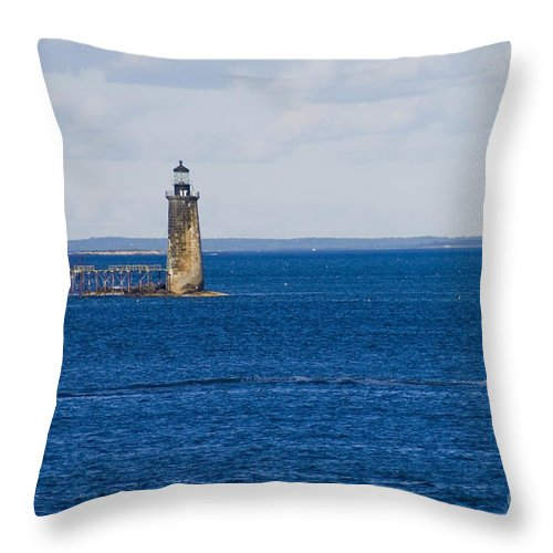 Lighthouse Throw Pillow featuring the photograph Rams Island Ledge Light by Tim Mulina