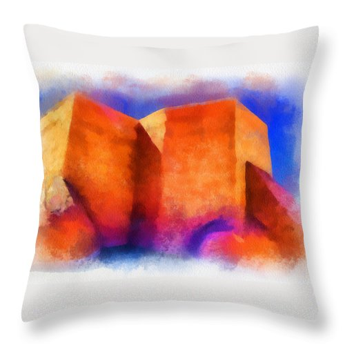 Santa Throw Pillow featuring the digital art Ranchos Nave - Watercolor by Charles Muhle
