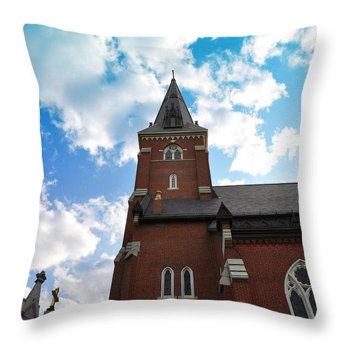 Church Throw Pillow featuring the photograph Reaching For Glory by Christine Stonebridge