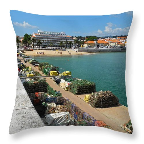 Cascais Throw Pillow featuring the photograph Ready for Fishing Tomorrow by Kirsten Giving