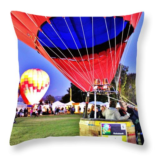 Balloons Throw Pillow featuring the photograph Ready For Lift Off by Caroline Lomeli