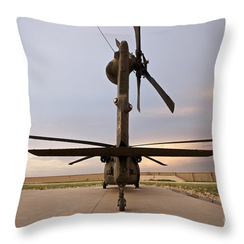 Blackhawk Throw Pillow featuring the photograph Rear View Of A Uh-60l Black Hawk by Terry Moore