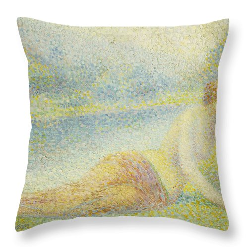 Nude Throw Pillow featuring the painting Reclining Nude by Hippolyte Petitjean