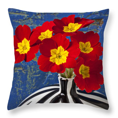 Red Throw Pillow featuring the photograph Red And Yellow Primrose by Garry Gay