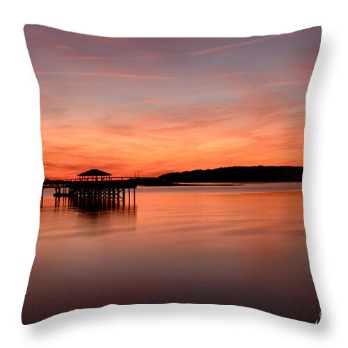 Landscape. Water Throw Pillow featuring the photograph Red Autumn Sky by Margaret Palmer