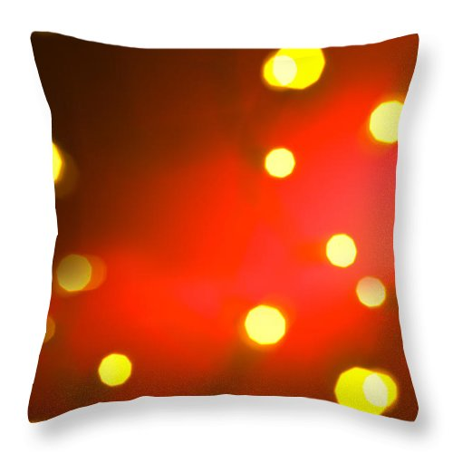 Red Throw Pillow featuring the photograph Red Background With Gold Dots by U Schade