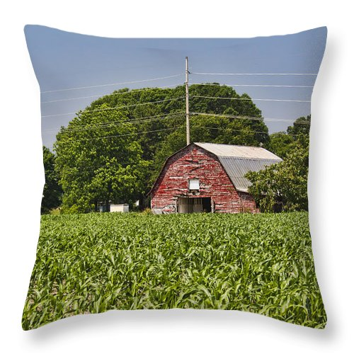 Red Throw Pillow featuring the photograph Red Barn - What Charm by Kathy Clark