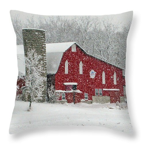 Barn Throw Pillow featuring the photograph Red Barn In Heavy Snow by Jack Schultz