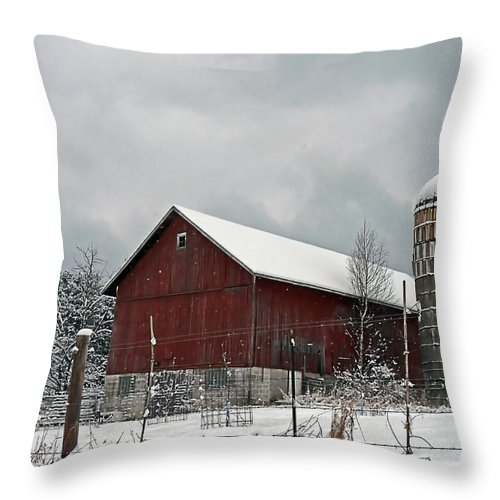 Barn Throw Pillow featuring the photograph Red Barn In Winter by Judy Johnson