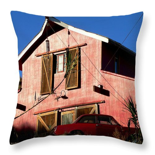 Red Barn Throw Pillow featuring the photograph Red Barn Red Car by Jeff Lowe