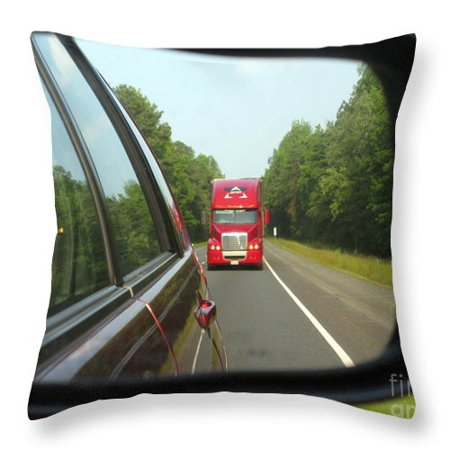 Transportation Throw Pillow featuring the photograph Red Big Truck Behind by Ausra Huntington nee Paulauskaite