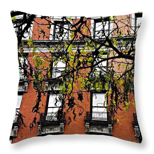 Red Brick Building Throw Pillow featuring the photograph Red Brick Building by Sarah Loft