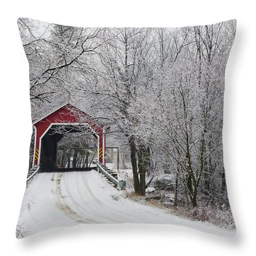 Bridge Throw Pillow featuring the photograph Red Covered Bridge In The Winter by David Chapman