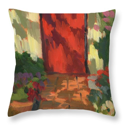 Red Door Throw Pillow featuring the painting Red Door - Shadow And Light by Diane McClary