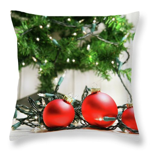 Bright Throw Pillow featuring the photograph Red Glass Balls With Lights by Sandra Cunningham