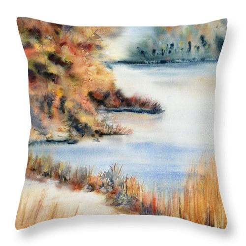 Landscape Throw Pillow featuring the painting Red Maple Lake by Kristine Plum