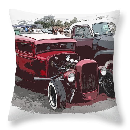 Model A Throw Pillow featuring the photograph Red Model A Coupe by Steve McKinzie