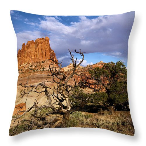 Red Rock Castle Throw Pillow featuring the photograph Red Rock Castle by Adam Jewell