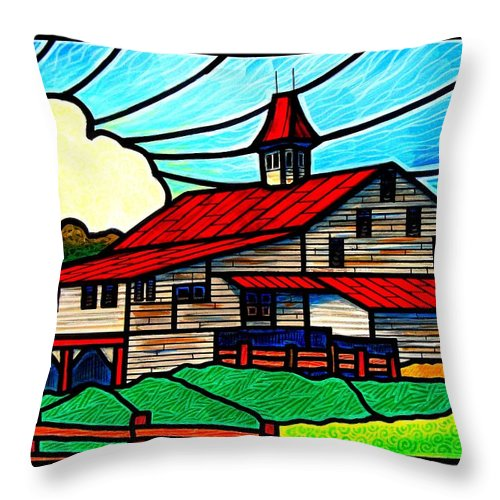 Old Throw Pillow featuring the painting Red Roof Barn On Osceola Springs Road by Jim Harris